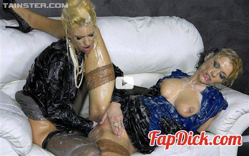 SlimeWave.com/Tainster.com - Uma and Anita Vixen - Cum Covered, Gloryholed Pussy Eaters [SD]