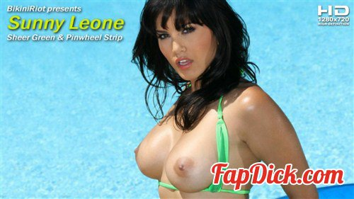BikiniRiot.com - Sunny Leone - Sheer Green and Pinwheel Strip [HD 720p]