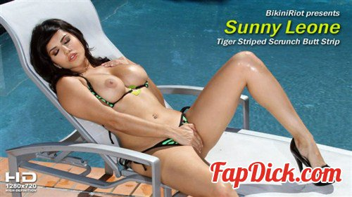 BikiniRiot.com - Sunny Leone - Tiger Striped Scrunch Strip [HD 720p]