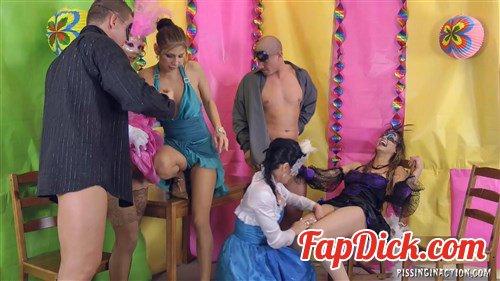 PissingInAction.net/Tainster.com - Celine Noiret, Rachel Evans, Klarisa, Alex - Masked Piss Party Madness Part 1 [FullHD 1080p]