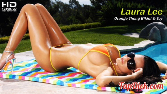BikiniRiot.com - Laura Lee - Orange Thong Bikini and Toy [HD 720p]